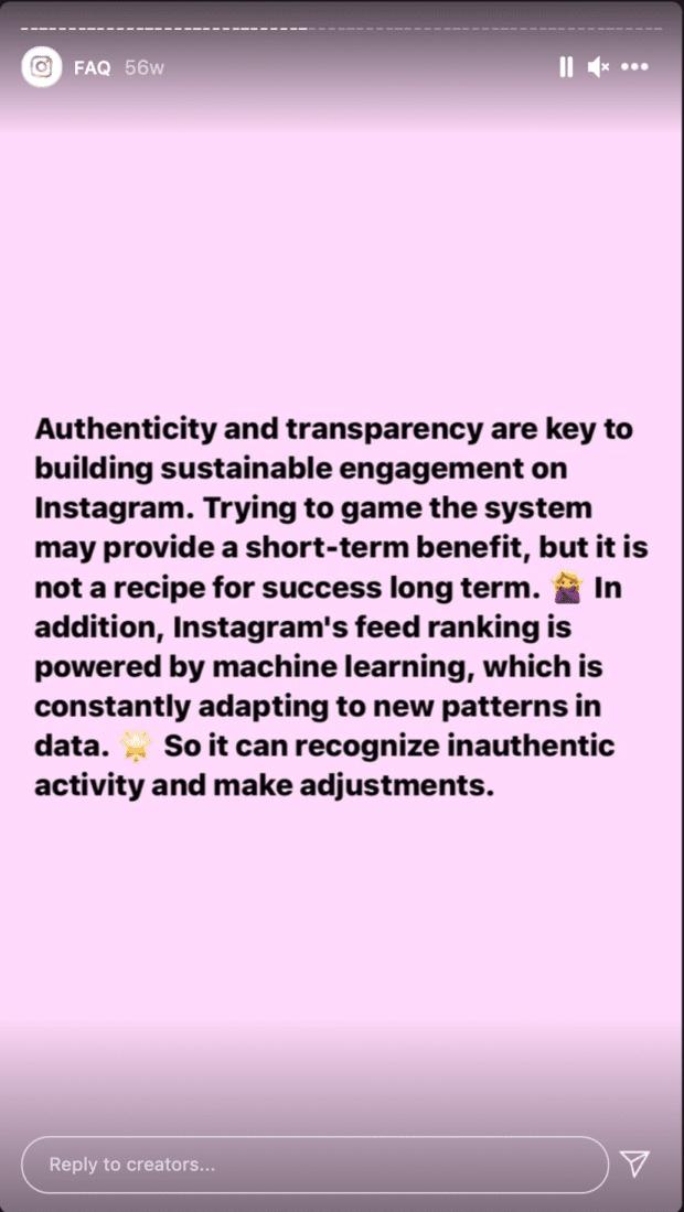 Pregunta sobre contenido no auténtico de una sesión de preguntas y respuestas de los creadores de InstagramFuente: @creators