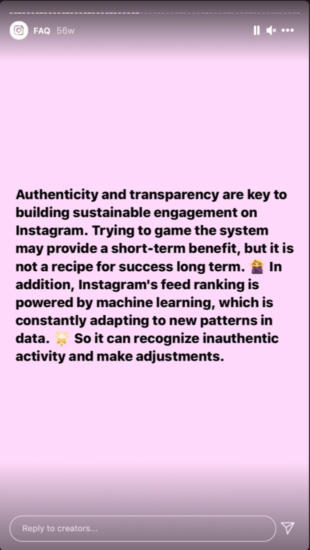 Story de @creators expliquant que les tentatives de manipulation de l'algorithme génèrent des résultats à court terme, mais n'ont aucun avantage à long terme