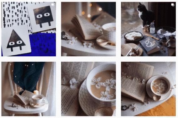 Grille Instagram de @fictionalmeg présentant les images d'une séance photos sous différents angles