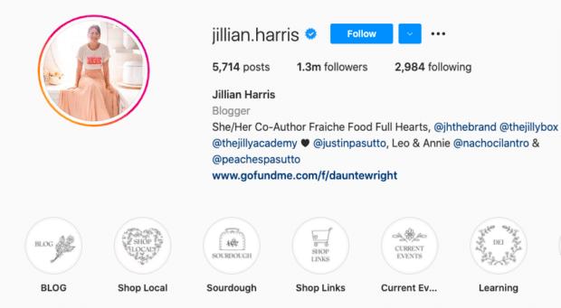 instagram highlight icons on Jillian Harris's profile