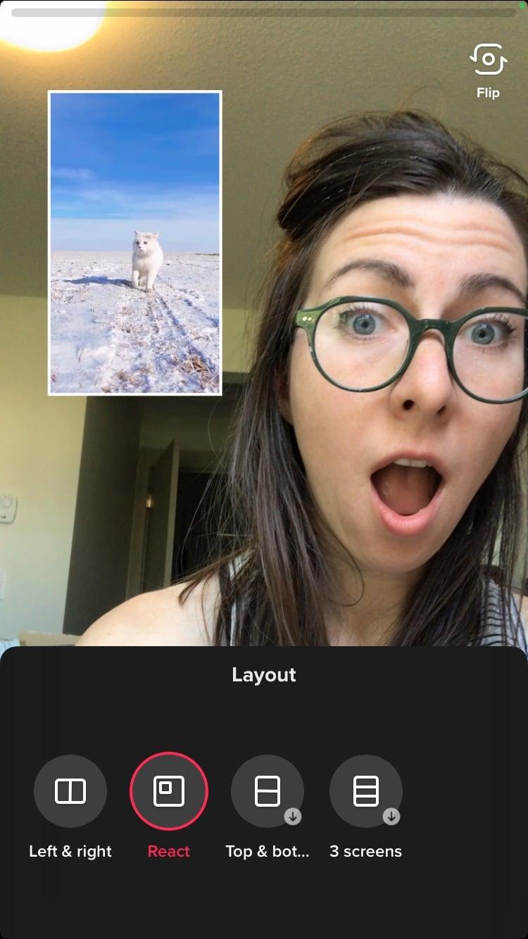 woman reacting to cat video on tiktok
