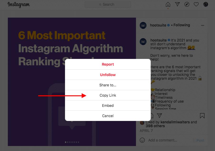 """""""Link kopieren"""" auf Instagram"""