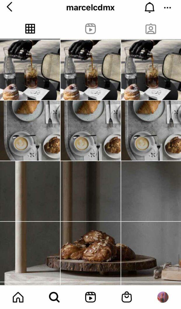 Perfil de la panadería y cafetería Marcel en Instagram