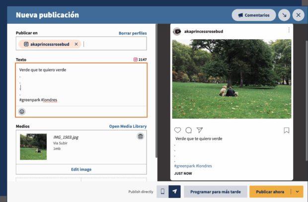 Vista previa de Hootsuite y seleccionar contenido de la biblioteca