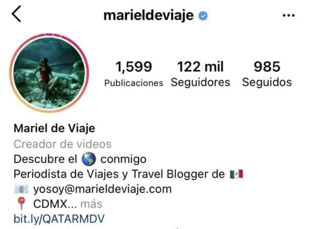 Palabras clave en el perfil de @marieldeviaje