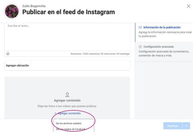 Uso de Creator Studio para programar publicaciones de Instagram: agregar contenido para subir los elementos visuales