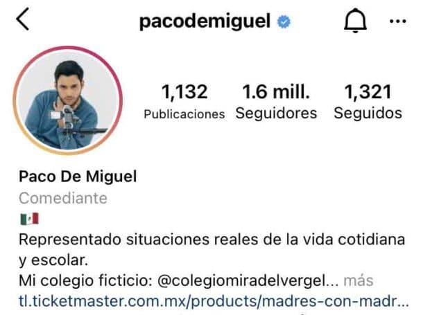 Bio de Instagram de Paco De Miguel