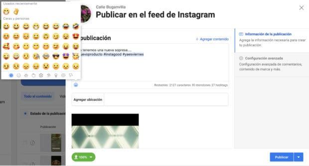 Uso de Creator Studio para programar publicaciones de Instagram: opciones de Emoji