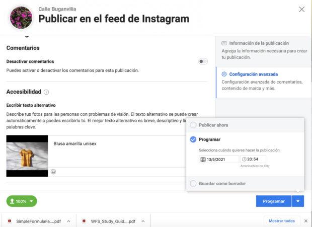 Programar publicaciones de Instagram en Creator Studio