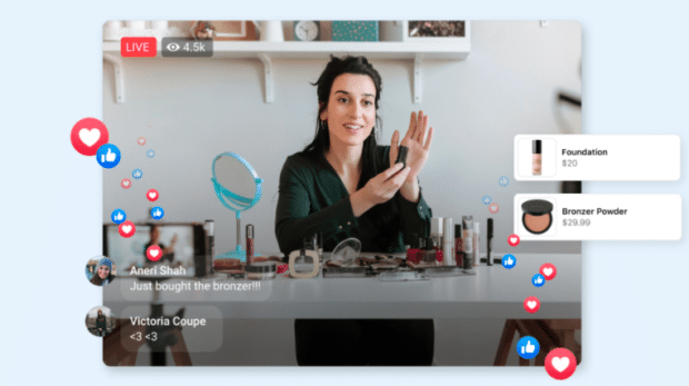shopping live stream with host presenting makeup products