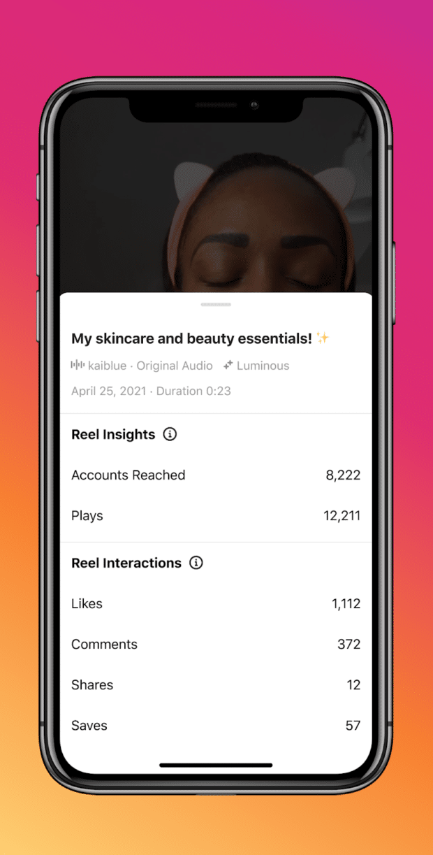 Reel insights and interactions