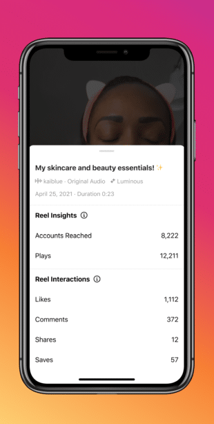 phone screen with individual reel performance stats