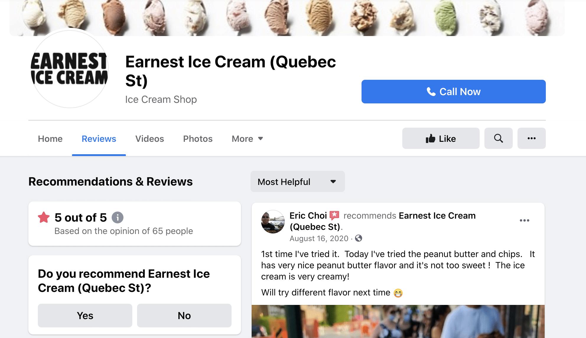 Earnest Ice Cream customer testimonials