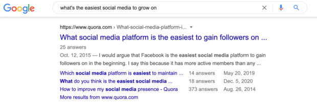 what's the easiest social media to grow on Google Search