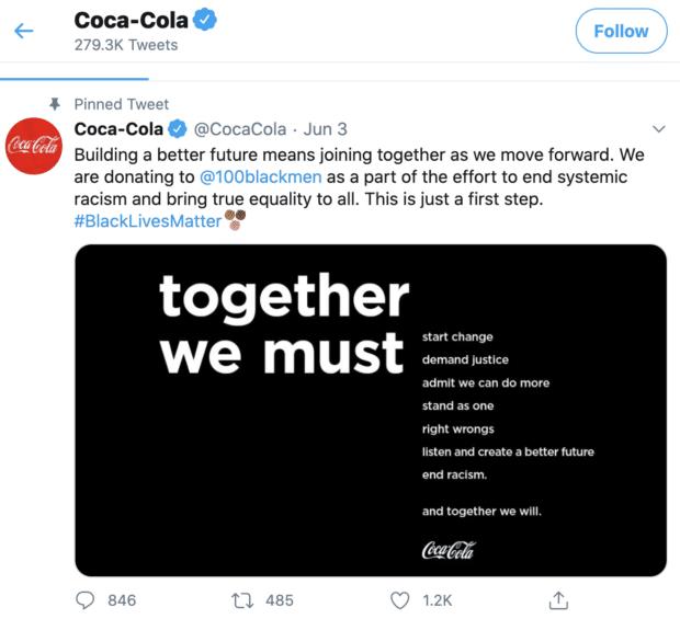 Coca Cola participating in Black Lives Matter movement