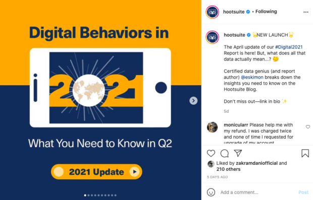 Hootsuite Instagram post tagging a partner in the caption (as an example of how to get more Instagram followers)