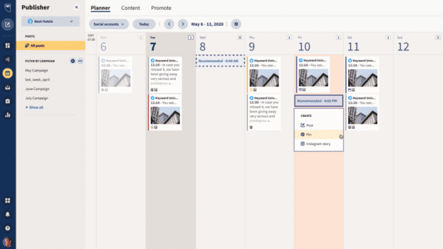 best time to post on social media: recommended posting times in Hootsuite Planner