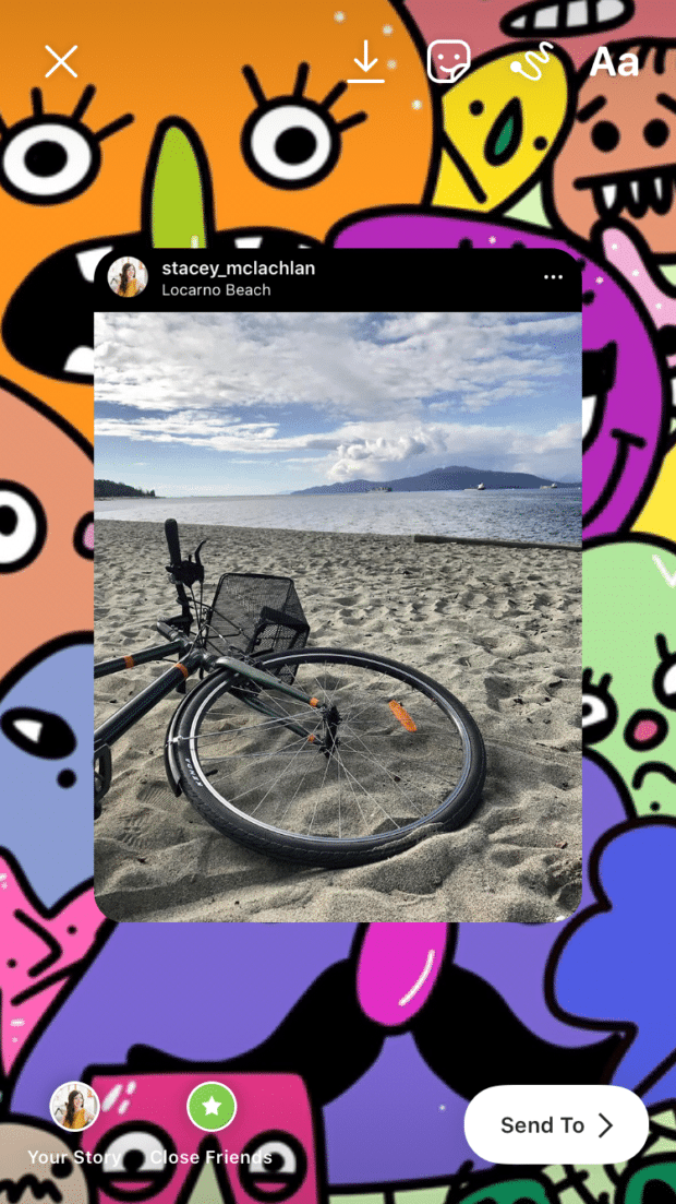 Locarno Beach picture with patterned backdrop
