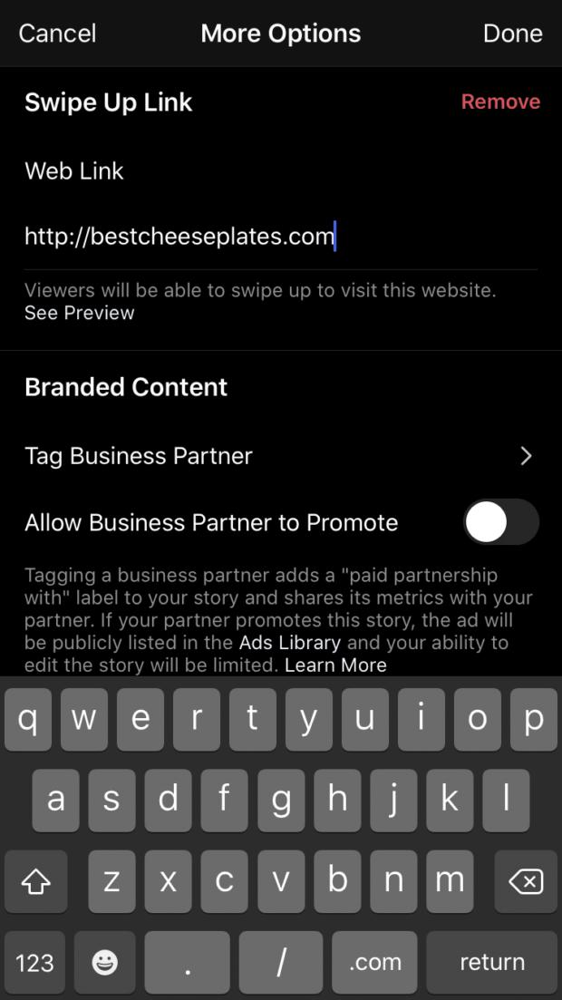 add swipe up link to Instagram Story