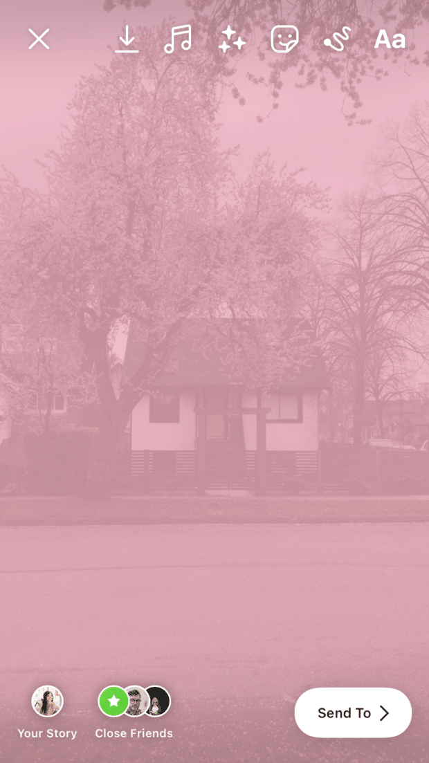 house with translucent pink color layer