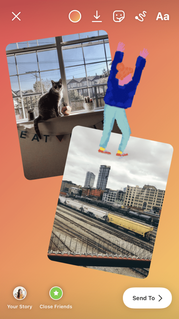 multi-image story cat and train