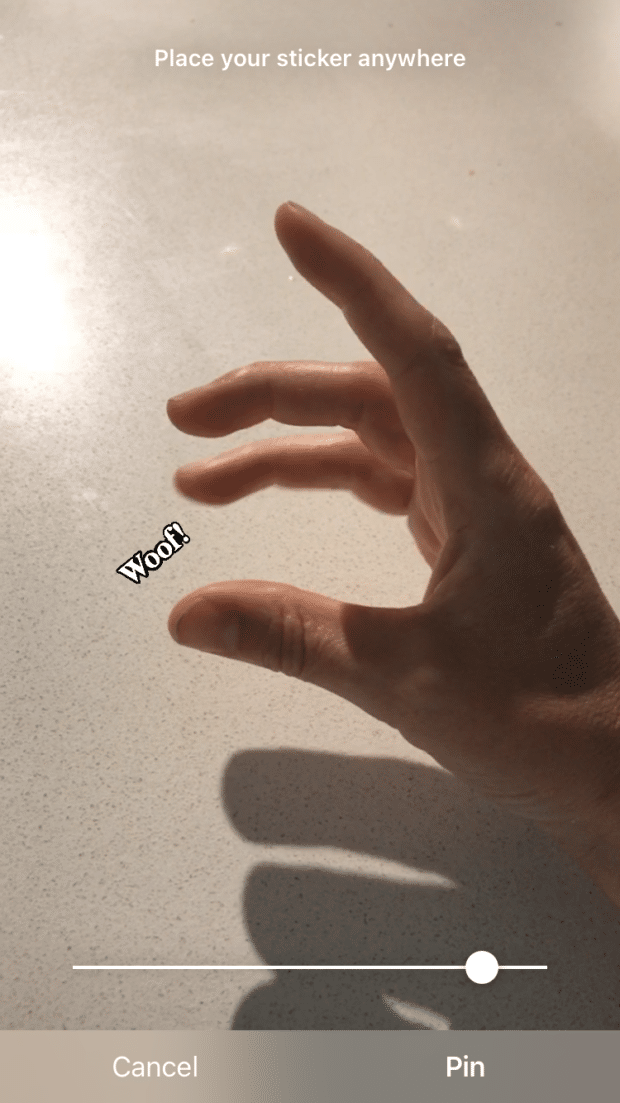 "pin ""Woof!"" sticker on Instagram story"
