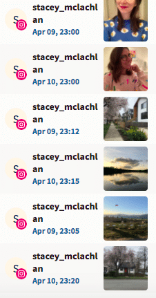 all scheduled Instagram posts for the experiment showing around 11 PM UTC