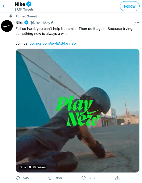 """Pinned tweet on Nike's Twitter page featuring video from """"Play new"""" campaign"""