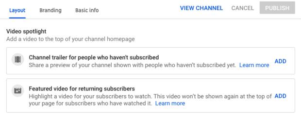 YouTube channel layout video spotlight