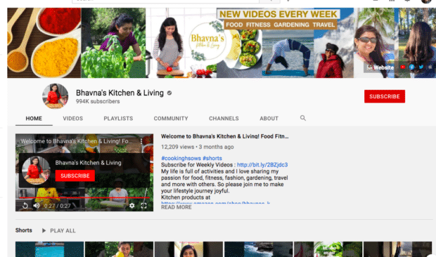 Bhavna's Kitchen & Living channel page
