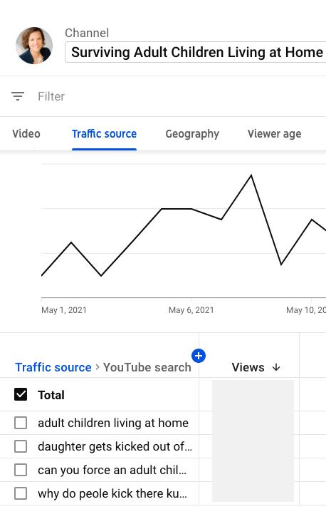 YouTube analytics traffic source