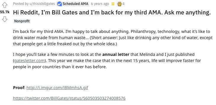 Bill Gates AMA post on Reddit