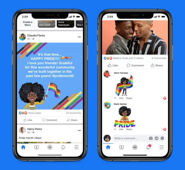 Two iphone screenshots of Facebook's dedicated Pride-themed designs: post backgrounds and avatars featuring rainbow flags