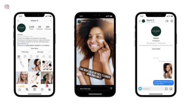 3 phone screens displaying a brand's Instagram account, the brand's Instagram Story and a Direct Messages view with a reply to the Instagram Story