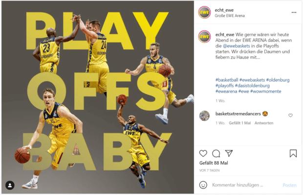 Instagram-Post von EWE mit Leerzeile vor den Hashtags