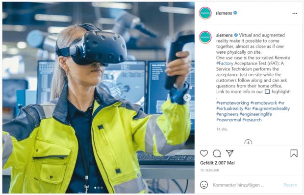 Instagram-Post über Virtual- und Augmented-Reality-Technologien am Arbeitsplatz mit Link zu weiterführenden Informationen