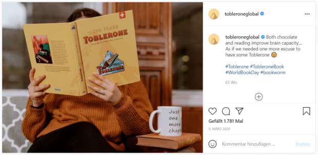 """Toblerone-Kampagne """"Lesen und Toblerone verbessern die Gehirnkapazität"""" auf Instagram"""