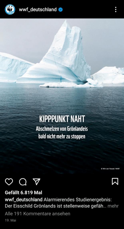 """WWF informiert über eine Studie zum Abschmelzen des Eisschildes: """"Kipppunkt naht"""""""