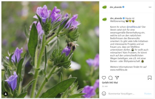 Alverde Naturkosmetik erwähnt den Bienenschutzverein Mellifera