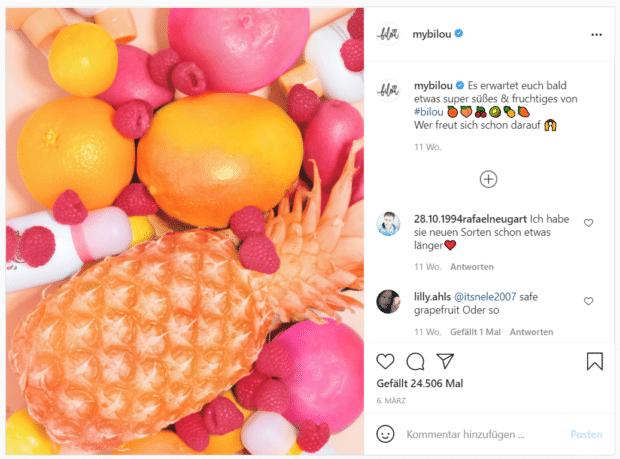 Bilou bietet seine neuen Düfte an – mit witzigen Frucht-Emojis