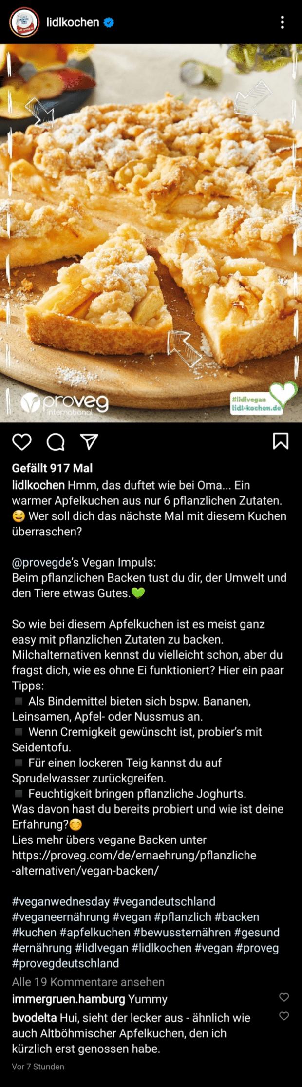 lidlkochen stellt im Zuge einer Infokampagne über veganes Backen einen Apfelkuchen vor.