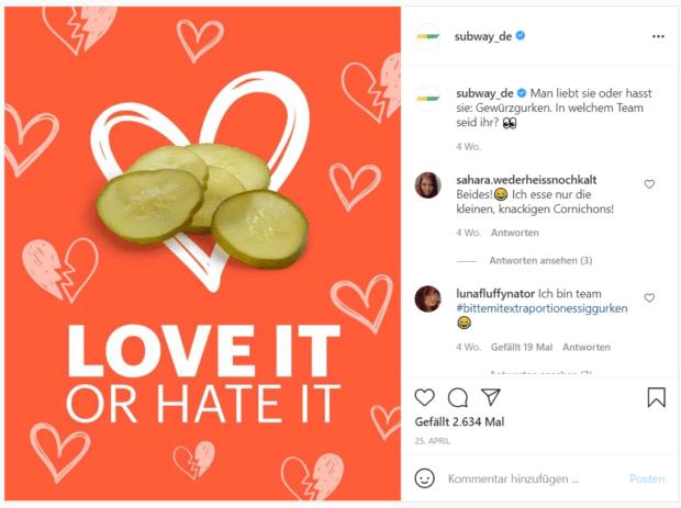 Die Fast-Food-Kette Subway fragt ihre Follower, ob sie Gewürzgurken mögen.