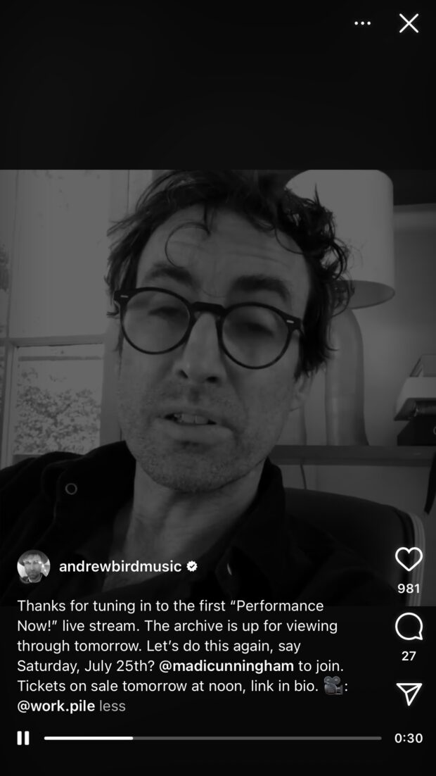 Andrew Bird shares musical performance with fans on Instagram Live