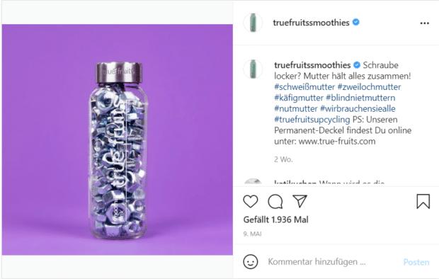 Nachhaltig: True Fruits motiviert auf Instagram zum Upcycling seiner leer getrunkener Smoothie-Flaschen