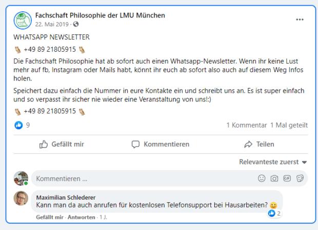 Die Fachschaft Philosophie der LMU München bietet einen WhatsApp-Newsletter