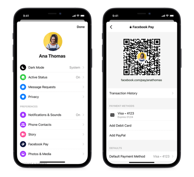 Facebook Pay interface within the Messenger App. Screenshot includes QR code, Transaction History section, Payment Methods section.