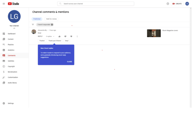 YouTube Studio smart reply feature