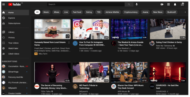 YouTube homepage algorithm