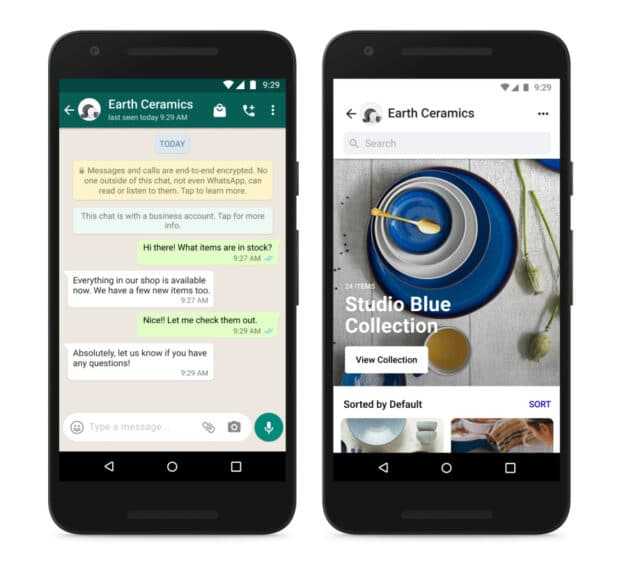 Two phone screens showcasing Facebook Shops within WhatsApp and Marketplace