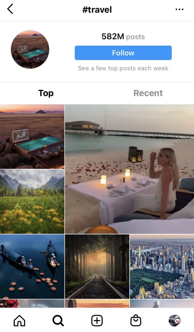 Tag page in Instagram Explore. Results for #travel